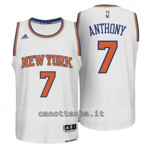 maglia carmelo anthony #7 new york knicks 2014-2015 bianca