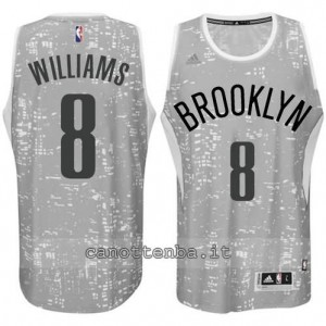 maglia deron williams #8 brooklyn nets lights grigio