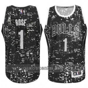 maglia derrick rose #1 chicago bulls lights nero