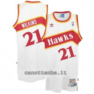 maglia dominique wilkins #21 atlanta hawks retro bianca