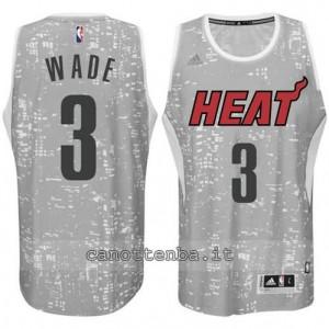 maglia dwyane wade #3 miami heat lights grigio