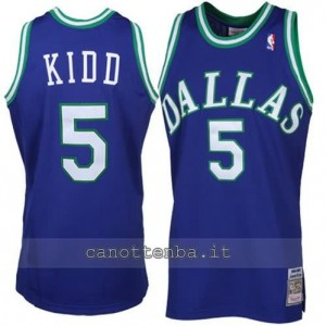 maglia jason kidd #5 dallas mavericks throwback blu