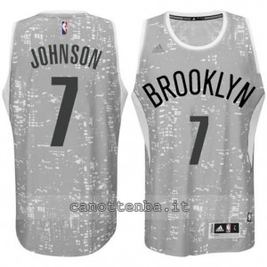 maglia joe johnson #7 brooklyn nets lights grigio