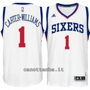 maglia michael carter-williams #1 philadelphia 76ers 2015 bianca
