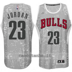 maglia michael jordan #23 chicago bulls lights grigio