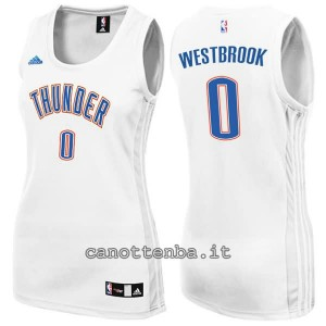 maglia nba donna oklahoma city thunder russell westbrook #0 bianca