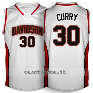 maglia ncaa davidson 2007-2009 stephen curry #30 bianca
