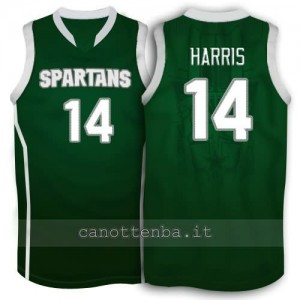 maglia ncaa michigan state spartans gary harris #14 verde
