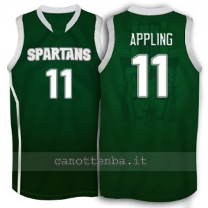 maglia ncaa michigan state spartans keith appling #11 verde