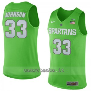 maglia ncaa michigan state spartans magic johnson #33 verde