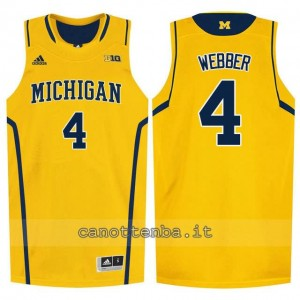 maglia ncaa michigan wolverines chris webber #4 giallo