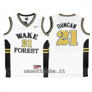 maglia ncaa wake forest demon deacons tim duncan #21 bianca