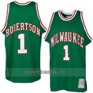 maglia oscar robertson #1 milwaukee bucks verde