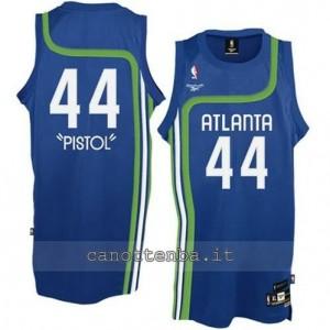maglia pistol #44 atlanta hawks retro blu