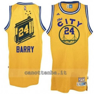 maglia rick barry #24 golden state warriors throwback giallo