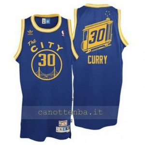 maglia stephen curry #30 golden state warriors throwback blu