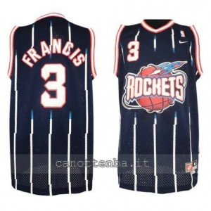 maglia steve francis #3 houston rockets retro blu