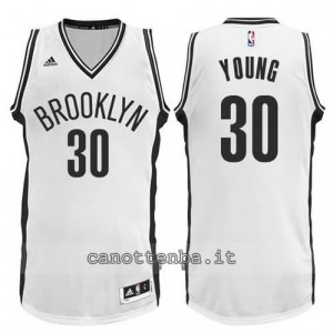 maglia thaddeus young #30 brooklyn nets revolution 30 bianca