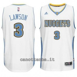 maglia ty lawson #3 denver nuggets 2014-2015 bianca